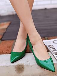 Calcanhares femininos clube de verão sapatos de couro de patente verde casual verde vermelho roxo cinza preto