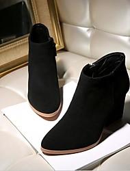 Women's Boots Comfort PU Spring Casual Comfort Black Gray 4in-4 3/4in