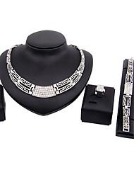 Jewelry Set Necklace Bridal Jewelry Sets Rhinestone Euramerican Fashion Classic Rhinestone Zinc Alloy Square Silver1 Necklace 1 Pair of