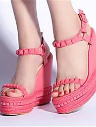 Розовый-Для женщин-Повседневный-Полиуретан-На танкетке-Туфли Мери-Джейн-Сандалии