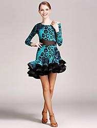 Danse latine Tenue Femme Spectacle Tulle Velours Au drapée Fantaisie 2 Pièces Manche longue Taille moyenne Collant Jupe