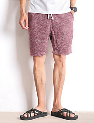 Men's Mid Rise Micro-elastic Shorts Pants,Loose Solid