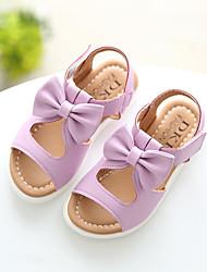 Girls' Sandals Slingback Leatherette Summer Casual Slingback Wedge Heel White Purple Blushing Pink 1in-1 3/4in