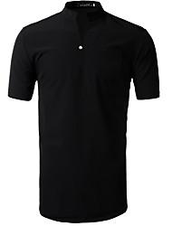 Herren Solide Einfach Lässig/Alltäglich T-shirt,Peter Pan-Kragen Sommer Kurzarm Baumwolle Mittel