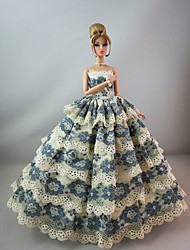 Evening Party Dress with Vintage Flower Pattern For Barbie Doll For Girl's Doll Toy