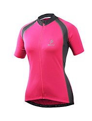 Arsuxeo Cycling Jersey Women's Short Sleeve Bike Jersey Quick Dry Front Zipper Soft Reflective Trim/Fluorescence Held-In SensationSpandex