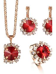 Ring Halskette / Ohrringe Braut-Schmuck-Sets Kristall StrassKreisförmiges Strass Modisch Einstellbar Euramerican Luxus-Schmuck