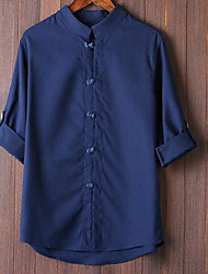 Men's Casual/Daily Simple Shirt,Solid Button Down Collar Long Sleeve Polyester