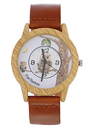 Top brand Men's Bamboo Wooden Bamboo Watch Owl Quartz Leather Strap Men Watches