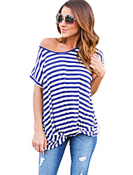 Women's Casual/Daily Simple Summer Striped One Shoulder Short Sleeve T-shirt
