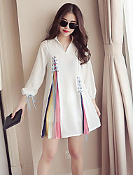 Women's Going out Casual/Daily Cute Shirt Dress,Solid Patchwork Shirt Collar Above Knee Long Sleeve Others Spring Fall High Rise
