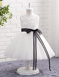 A-line Knee-length Flower Girl Dress - Tulle Satin Chiffon Jewel with Sash / Ribbon