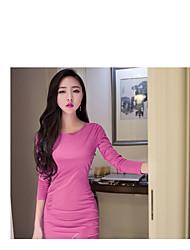 2017 Autumn new women's dress ladies sexy halter asymmetrical fold package hip dress