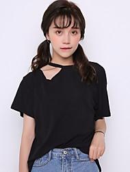 Damen Solide Einfach Lässig/Alltäglich T-shirt,Halter ½ Länge Ärmel Baumwolle