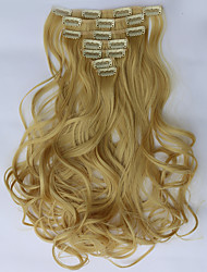 7pcs/Set 130g  Blonde Wavy 50cm Hair Extension Clip In Synthetic Hair Extensions