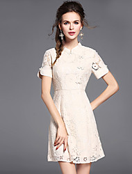 Women's Going out Casual/Daily Party Sexy Chinoiserie Lace Dress,Solid Stand Above Knee Short Sleeve Nylon Others Summer Mid Rise