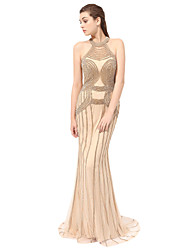 Mermaid / Trumpet Halter Floor Length Tulle Formal Evening Dress with Beading by Sarahbridal