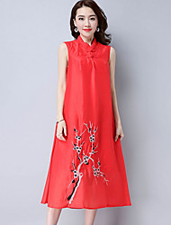 Women's Casual/Daily Simple Loose Dress,Embroidered Stand Midi Sleeveless Polyester Summer Low Rise Inelastic Thin