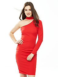 Women's Choker|Cut Out Casual/Daily Sexy Sheath DressSolid Boat Neck Knee-length Long Sleeve Blue / Red / White / Black Cotton Fall /