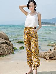 Feminino Boho Cintura Alta Inelástico Chinos Calças,Solto Color Block