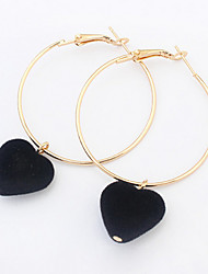 Euramerican Fashion Delicate Elegant Personalized  Circle Heart Love Black  Earrings Lady Business Party Drop Earrings Statement Jewelry