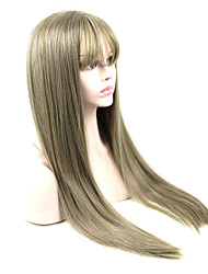 Long Straight Wig Brown Color Synthetic Wigs Heat Resistant Full Hair Cosplay Wigs