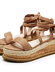 Women's Sandals Summer Creepers Fabric Casual Creepers Buckle