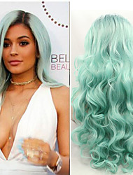 New Fashion Ombre Green Lace Front Wig Body Wave Two Tone Color Hair Heat Resistant Synthetice Lace Front Wig