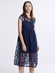 Women's Lace Casual/Daily Simple Loose DressSolid Round Neck Midi Short Sleeve Blue / White Polyester Summer
