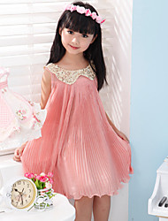 Girl's  Fashion Leisure  Sleeveless Bowknot Dress