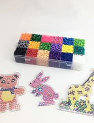 Approx 5400PCS 18 Color 5MM Fuse Beads Set with 3PCS Random Mixed Shape Template Clear Pegboard Giraffe Parrot Bear DIY Jigsaw(Set A 18*300PCS)
