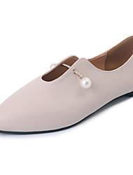 Women's Flats Summer Comfort PU Casual Flat Heel Imitation Pearl Dark Brown Beige Black