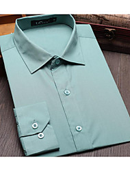 Men's Work Simple Shirt,Solid Shirt Collar Long Sleeve Nylon