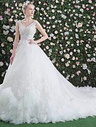Princesa v-pescoço comprimento real do trem laço vestido de casamento de tule com beading sequin