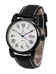 Masculino Relógio de Moda relógio mecânico Chinês Quartzo Automático - da corda automáticamente Couro Banda Preta Prata