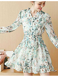 Women's Going out A Line Dress,Floral Shirt Collar Above Knee Long Sleeve Polyester Spring Summer Mid Rise Micro-elastic Thin