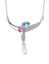 Women's Pendant Necklaces Crystal Geometric Chrome Unique Design Euramerican Fashion Personalized Light Blue Red Rose Red Dark Blue