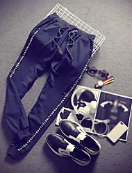 Masculino Contemporâneo Moda Lazer Cintura Média Micro-Elástico Chinos Calças Esportivas Calças,Delgado Harém Cor Única Letra