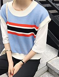 Damen Gestreift Einfach Lässig/Alltäglich T-shirt,Rundhalsausschnitt Ärmellos Acryl