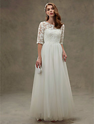 A-line Jewel Floor Length Lace Tulle Wedding Dress with Beading Lace Sash / Ribbon