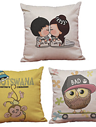 Set of 3  Cartoon Kids Pattern  Linen Pillowcase Sofa Home Decor Cushion Cover