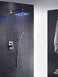 Contemporáneo Arte Decorativa/Retro Modern Colocado en la Pared LED Ducha lluvia Espray de Desmontable with  Válvula LatónSola manija Dos