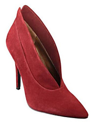 Women's Heels Spring Comfort Leather Suede Casual Burgundy Screen Color Black