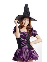 Costumes de Cosplay Sorcier/Sorcière Fête / Célébration Déguisement d'Halloween Couleur unie Robe Halloween Carnaval Féminin