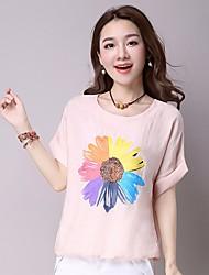 Dames Eenvoudig T-shirt,Uitgaan Bloemen Ronde hals Korte mouw Zijde