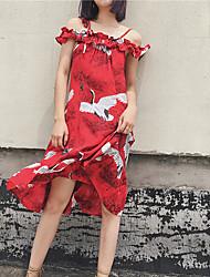 Feminino Solto Vestido,Para Noite Casual Simples Moda de Rua Estampado Decote Canoa Acima do Joelho Sem Manga Seda Algodão Verão Outono
