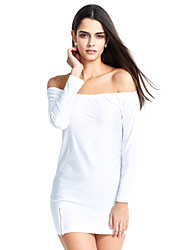 Women's Off The Shoulder Sexy Off Shoulder Long Sleeve Bodycon Solid Dress with Zipper