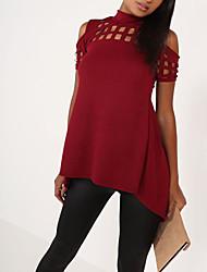 Damen Solide Einfach Ausgehen T-shirt,Rollkragen Sommer Kurzarm Polyester Mittel