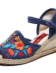 Синий-Для женщин-Повседневный-Ткань-На танкетке-Туфли Мери-Джейн-Сандалии