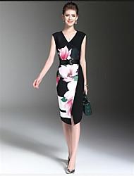 Gaine Robe Femme Soirée / Cocktail Chinoiserie,Fleur Col en V Mi-long Sans Manches Autres Eté Taille Normale Micro-élastique Moyen
